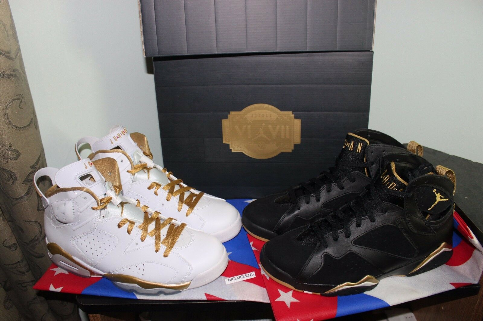 NIKE AIR RETRO JORDAN 6 7 VII VII goldEN MOMENT PACK GMP WHITE BLACK gold SIZE 9