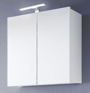 Details zu Bad Spiegelschrank weiß Hochglanz Lack 60 Badezimmer Spiegel  Beleuchtung Intenso