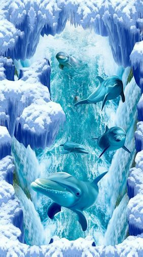 3D Azul Iceflow Piso impresión de parojo de papel pintado mural Delfín Calcomanía 5D AJ Wallpaper