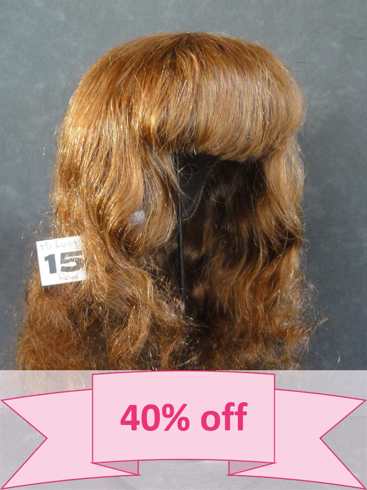 40% OFF - Human Hair DOLL WIG Größe 18.3  (46.5 cm). Mi-Long rot-braun hair.