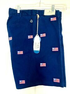 Men-039-s-Castaway-Navy-Blue-Golf-Bermuda-Shorts-with-American-Flag-NWT-Size-32