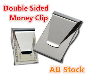 Double-Sided-Slim-Money-Clip-Credit-Card-Holder-Cash-Wallet-Stainless-Steel-New