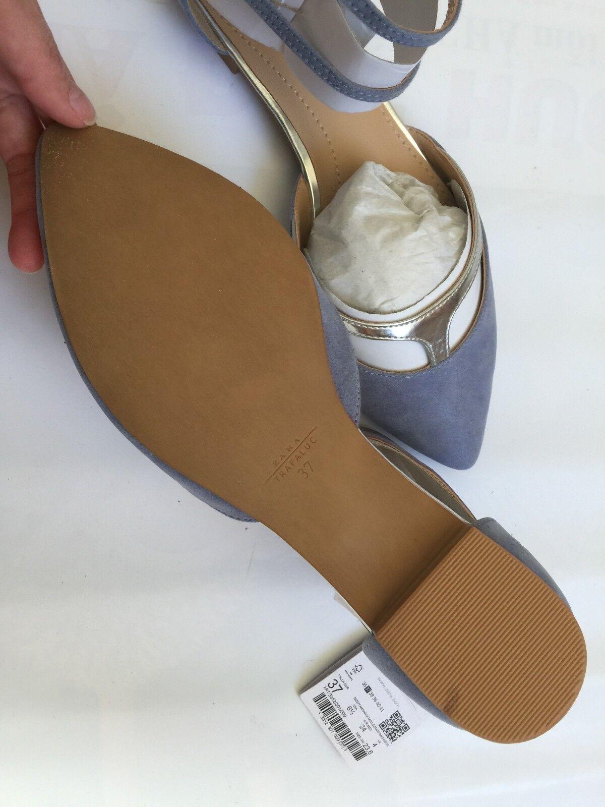 Zara Pointy - Flats with Ankle Straps - Pointy Größe 6.5/37 9b3e40