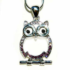 968015762f20 Purple w Swarovski Crystal Hawk Bird ~OWL~~ Wisdom Teacher Gift ...