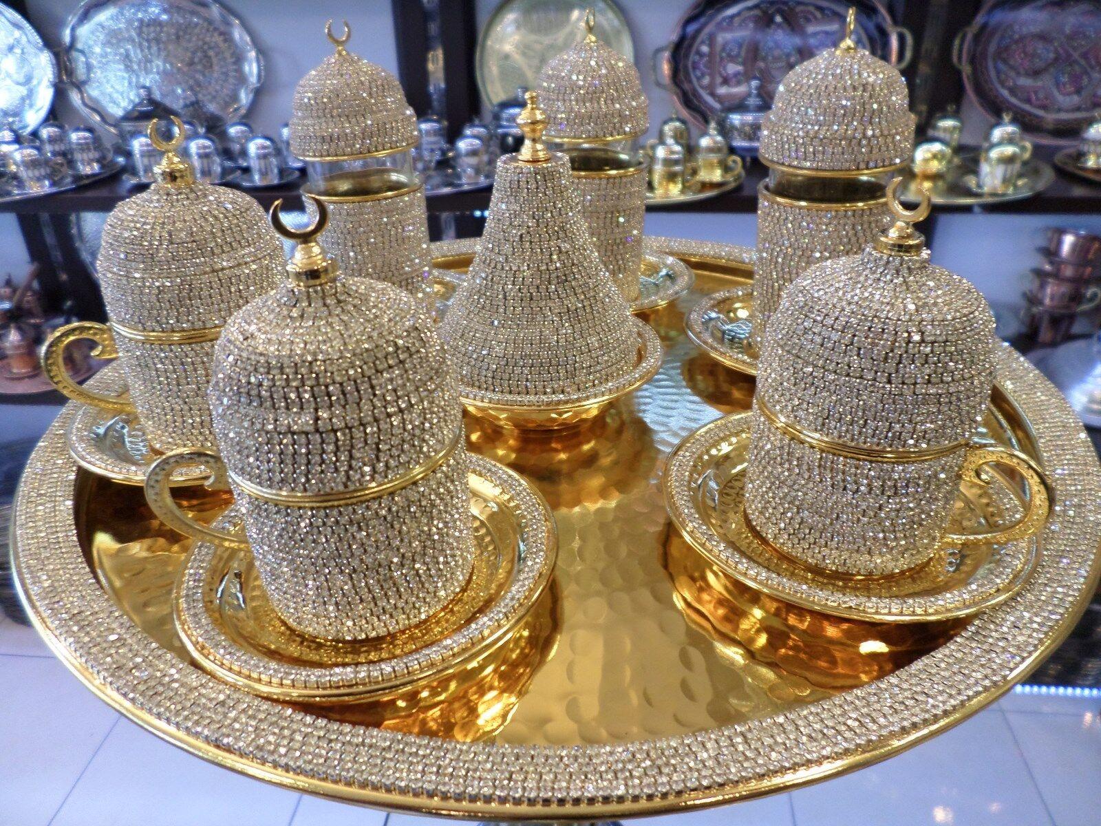 Handmade cuivre Turc Café Expresso Thé Zamzam Serving Set Swarovski Coated
