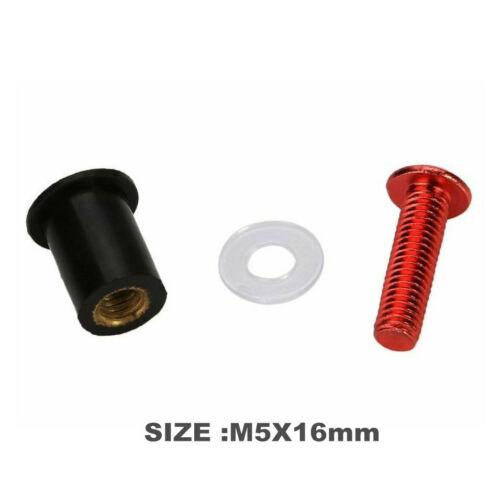 10X Red Windscreen Bolts Red Kawasaki ZX6 636 ZX12 ZX14 Ninja