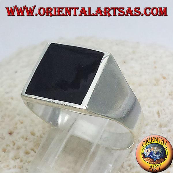 925 silver Ring Einfache Mit Onyx Wohnung 13 13