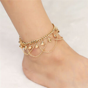 Womens-GOLD-Bead-Chain-Anklet-Ankle-Bracelet-Barefoot-Sandal-Beach-Foot-Jewelry