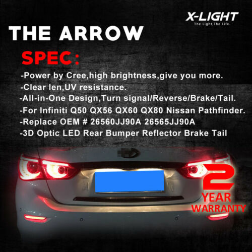 Black Lens LED w//Sequential Turn Signal Tail Lights For Infiniti Q50 QX Nissan
