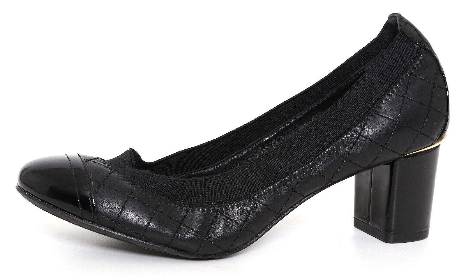 Tory Burch Carrie Quilted Bomba de de de Cuero Negro para Mujeres Talla 5.5 M 3172  la mejor selección de