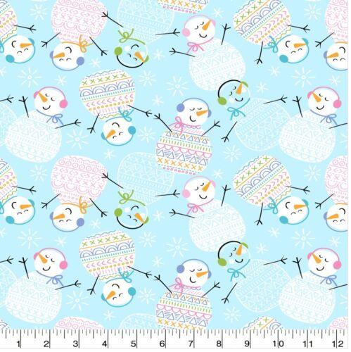 Snowman YD Happy Pattern Trap Snowmen Super Snuggle Flannel Fabric BTY