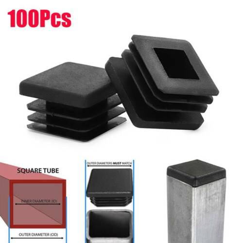 """100X 1 Inch Square Plastic Hole Plugs Tube Tubing Post End Cap 1x1 1/"""" One Glide"""