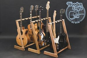 Details About Solid Oak Redwood Ash Multi Wooden Guitar Stand For 2 3 4 5 Or 6 Guitars
