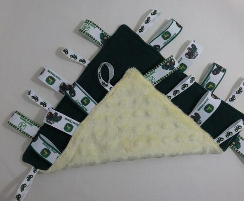 Green Tractor Taggie tag comfort blanket ribbon sensory snuggle cuddle fleece