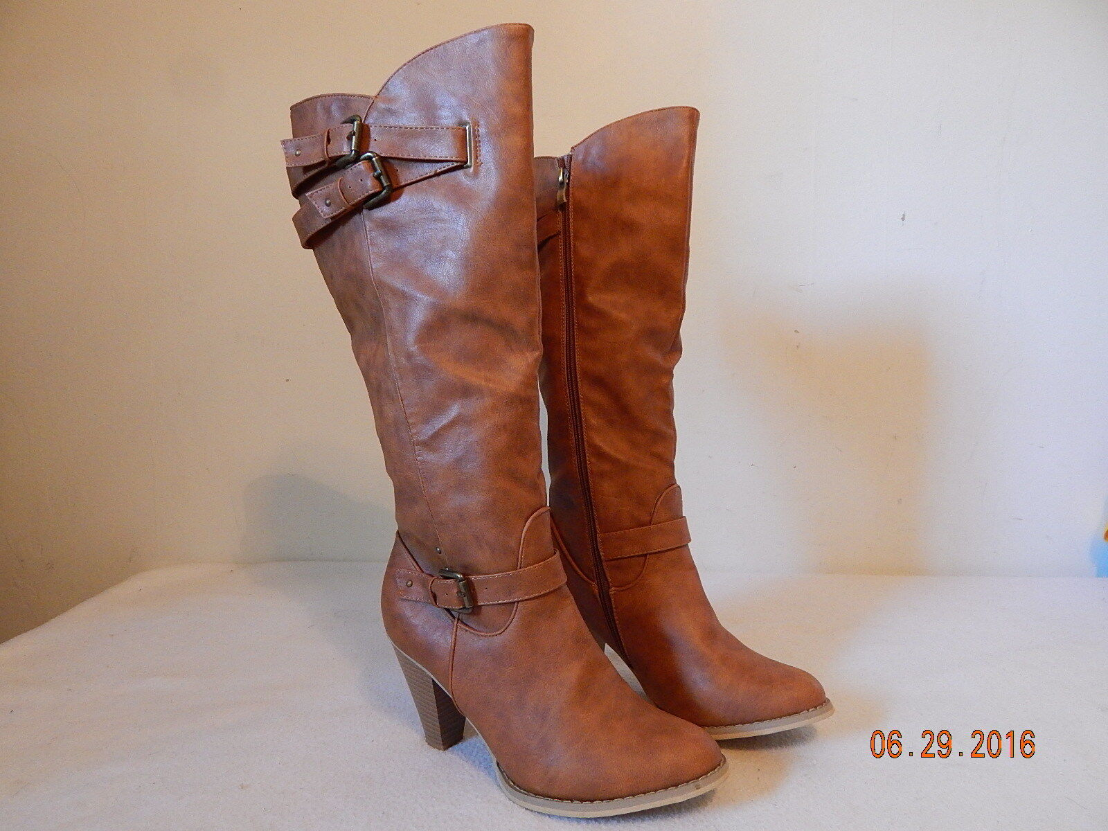 Womens Knee high style boots TALL Justfab Size 9 M Good Brown  Brand