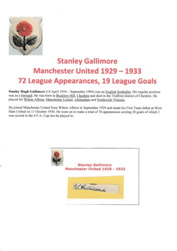 STANLEY GALLIMORE MANCHESTER UNITED 19291933 VERY RARE ORIGINAL SIGNED CUTTING