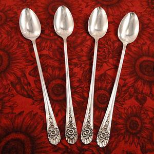 4 DAFFODIL Ice Tea Spoons 1847 Rogers Bros Vintage 1950 Silverplate Ice teaspoon