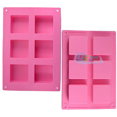 Silicone Soap Mold Cake Ice Cube Mould 6-Cell Square Handmade Craft Baking Tool