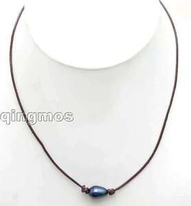 Big-10-11mm-Black-Rice-Natural-Freshwater-Pearl-Necklace-18-with-Leather-ne5903