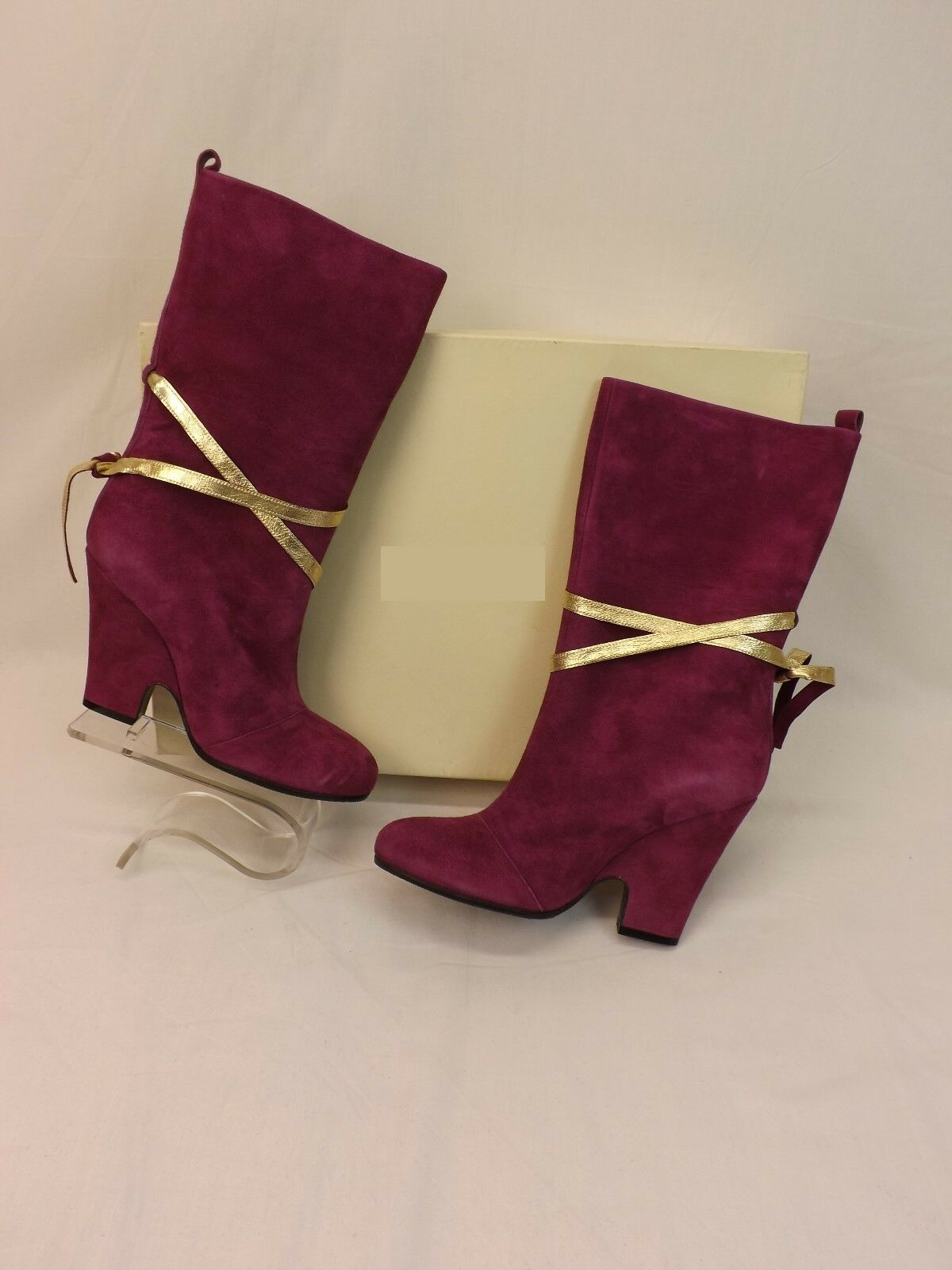 NEW MARC JACOBS PURPLE WEDGE SUEDE GOLD LACE WEDGE PURPLE HEEL SHORT BOOTS 37 ITALY 475665