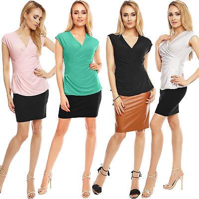 2019 Mode Damen Wickel Top Shirt Wickeltop Wickeloptik Elegant Büro Party Freizeit S 34 36
