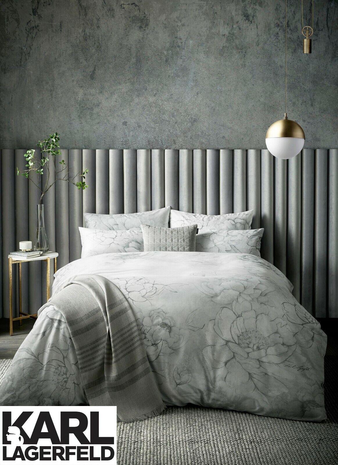 Karl Lagerfeld Designer KALLIE 100% Cotton Sateen 220 Thread Count Bedding grau