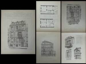Paris, 60 Rue Jouffroy D'abbans - Gravures Architecture 1895 - Morize