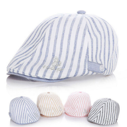 Child Baby Kid Striped Beret Cap Boy Girl Infant Toddler Peaked Cabbie Flat Hats