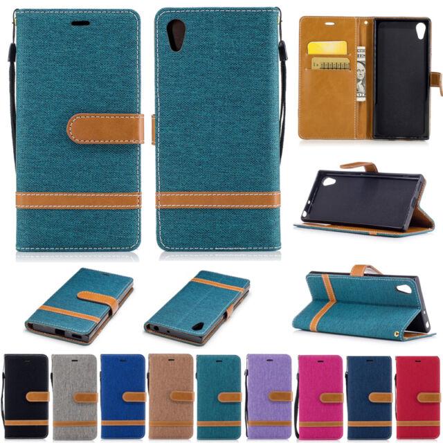 Jeans Wallet Leather Flip Case Cover For Sony Xperia 5 8 10 XA1 XZ1 L2 XA2 Ultra