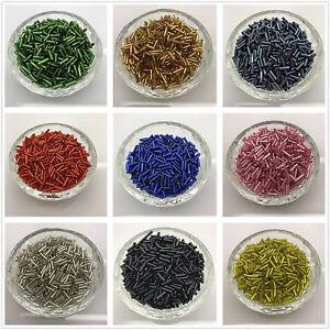 16-colors-2x2mm-2x6mm-Glass-Tube-Bugle-Beads-Jewelry-Making-Beads-Pick-wholesale