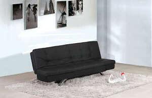 Divano Nero Cuscini : Divano letto 192x87 nero in ecopelle reclinabile sofa salotto arredo