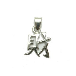 Sterling-silver-pendant-solid-925-Chinese-symbol-Wealth-PE001267