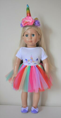 """18/"""" Dolls Clothes Fits American Girl Dolls Our Generation Unicorn Outfit 4 piece"""