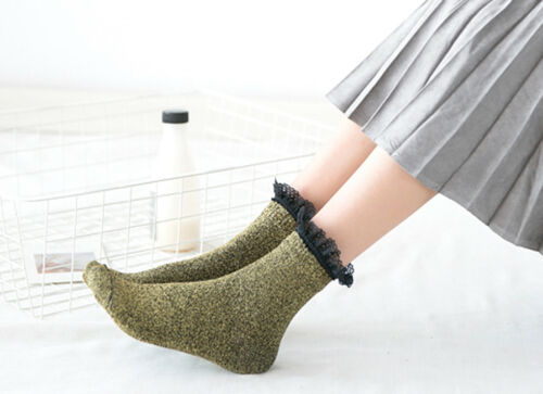 Japanese Soft Glitter Sparkly Preppy Ankle Socks With Lace Top Gift 1 Pair