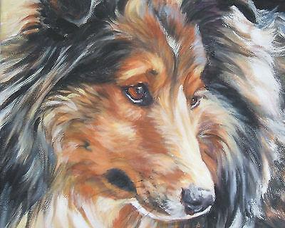 "Shetland Sheepdog SHELTIE dog art Canvas PRINT of LAShepard painting 8x10"""