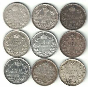 9-X-CANADA-FIVE-CENTS-KING-GEORGE-V-STERLING-SILVER-COINS-1911-1919
