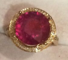 9.60CT  Natural Red Ruby and Real DIAMOND in 14K Solid Yellow Gold Cocktail Ring