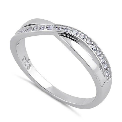 Elegant 925 Sterling Silver Clear Cubic Zirconia Infinity Twist Dress Ring CZ UK