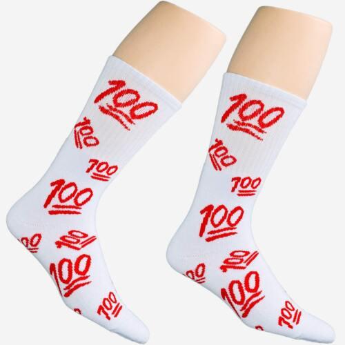 1 Dozen 12 Pairs Weed Leaf Emoji 100 Red On White Unisex Streetwear Crew Socks
