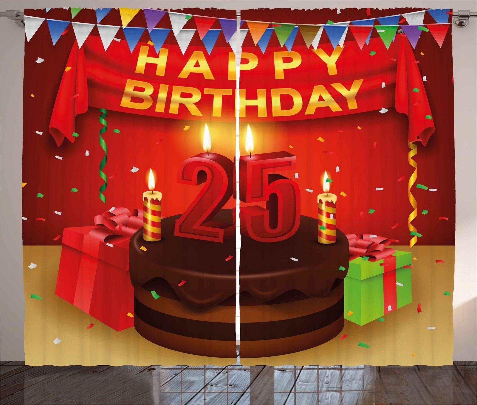 25th conjunto de 2 Paneles Cortinas De Cumpleaños Decoración 5 Tamaños Disponibles Ventana Cortinas
