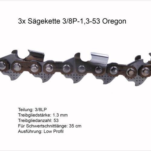 3 Stück Oregon Sägekette 3//8P 1.3 mm 53 TG Ersatzkette