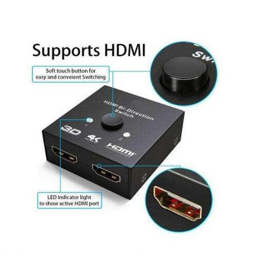 Gold Plated 2-Port HDMI Bi-directional 2x1 Switcher 1x2 Splitter Selector WJ