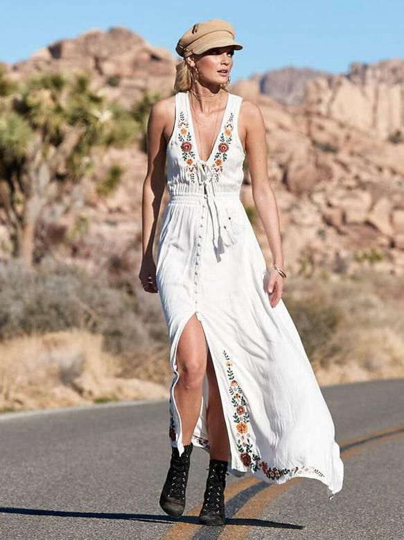 Kleid maxi große kleid mode frau bunt weiß weich bohoo bohemia 5138