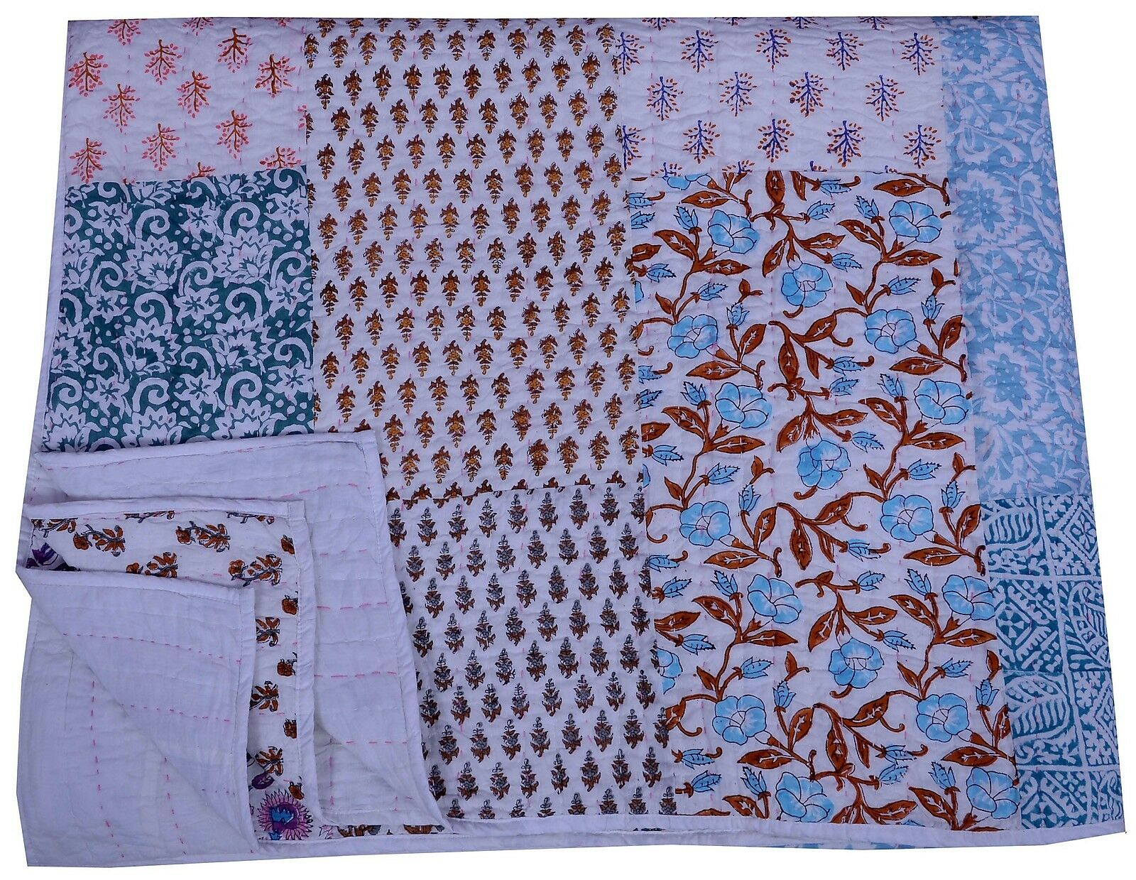 Indian Floral Patchwork Kantha Quilt With Cotton Filling Comforter Blanket Throw