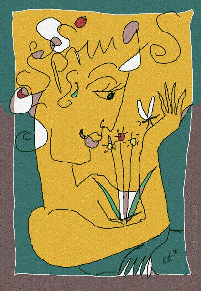 JACQUELINE DITT -  Springtime limit..Original Grafik signiert L Druck Frühling