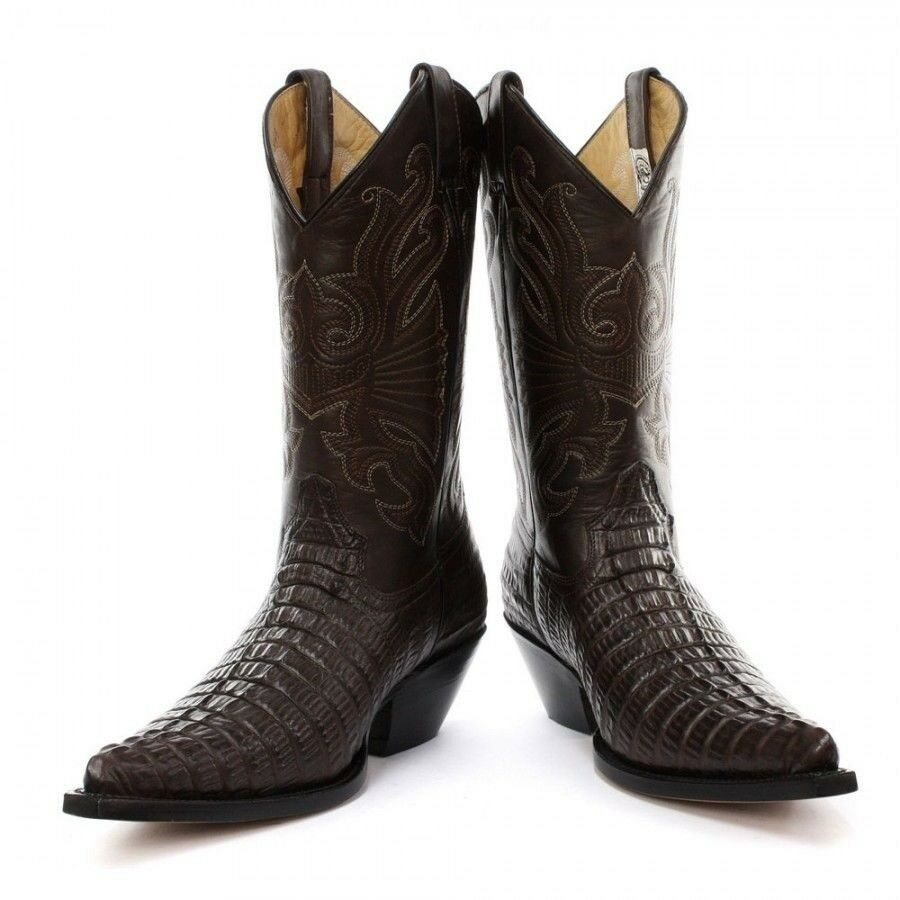 Grinders Carolina Crocodile Braun Western Leder Stiefel Pointed Toe