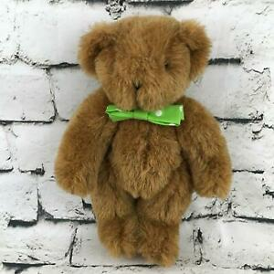 Vermont-Teddy-Bear-Plush-Brown-Classic-Jointed-Green-Bow-Tie-Stuffed-Animal-Toy
