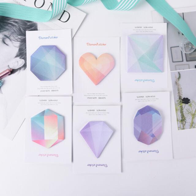 Diamond Notebook Memo Pad Self-Adhesive Sticky Office School Supplies Memo PadBL