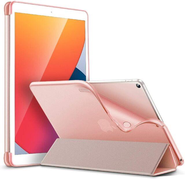 Coque Étui Mince Compatible avec iPad 8/7 Pliable Rabat à Trois Volets Rose Flui