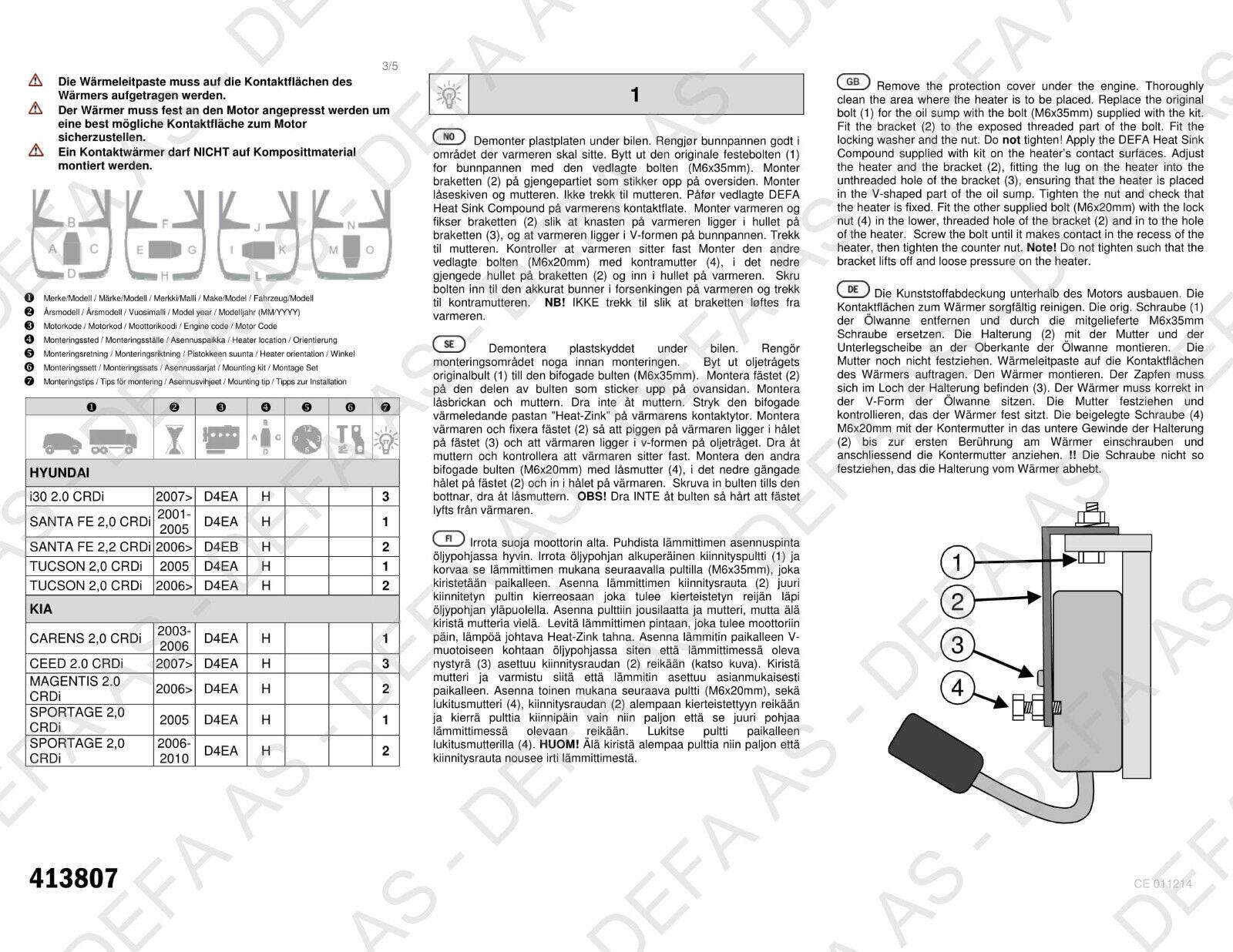 Engine Heater Element Defa 413807 For Many Hyundai Kia 20 Crdi 2003 2 0 Diagram 2006 Ebay